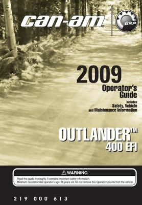 Can-Am 2009 Outlander 400 EFI, Owners Operators Manual Free Shipping