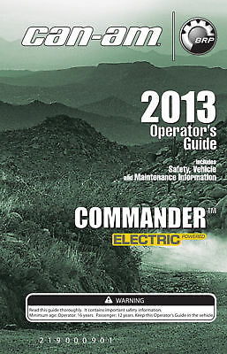 New Can-Am Commander Electric 2013 Owners Operators Manual Paperback Free S&H