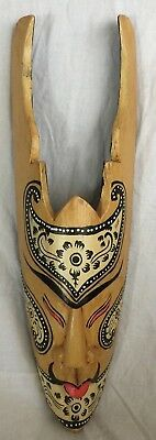 Wooden Mask Art Face Wood Hand Carved Wall Hanging 20""