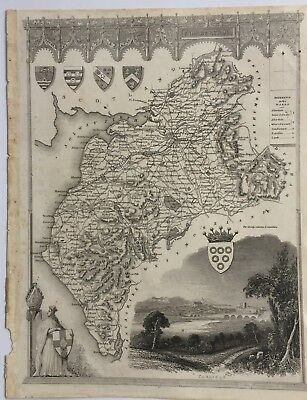 Antique Map of Cumberland by Thomas Moule c. 1840  Not coloured.