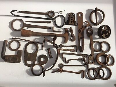 Antique Barn Iron: Hooks, Rings, Latches, Buckle, Wrenches, Wheel, Handle etc.