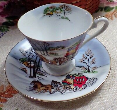 Lefton ? Four Seasons WINTER Footed Tea Cup & Saucer Handpainted Made in Japan