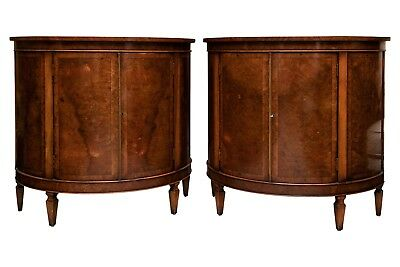 Pair Of Yorkshire House Burled Wood Demilune Cabinets 95124