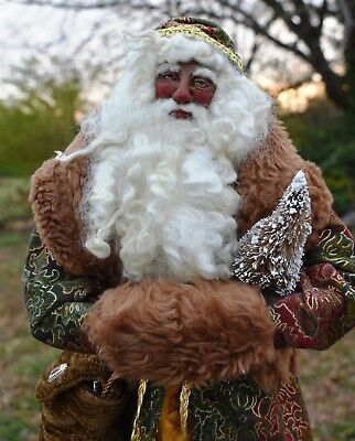 OOAK Victorian/Old World Santa with hand sculpted face. Hand crafted. Christmas