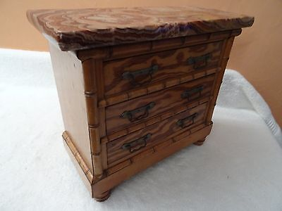 Antique French Marble Top Miniature Bamboo & Pine Chest of Drawers   (175)