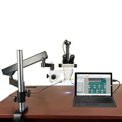 OMAX 6.7X-45X Articulating Arm Zoom Stereo Microscope+2MP Camera+54 LED Light