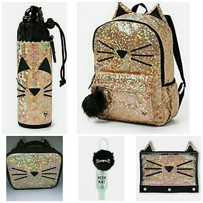 Justice Full Size Backpack Sparkle Cat Gold Sequin Set Hard to Find NWT