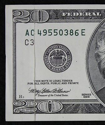 GUTTER FOLD ERROR $20 1996 Federal Reserve Note AC49550386E FREE SHIPPING