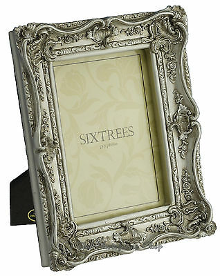 Sixtrees Chelsea Shabby Chic Vintage Ornate Antique Silver 7x5 inch Photo frame
