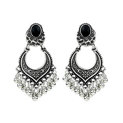 Beuu Bohemian Vintage Engraved Tassel Earrings Traditional Polkki Indian Jewelry
