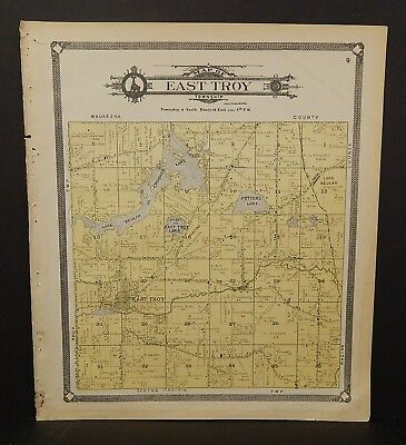 Wisconsin Walworth County Map East Troy Township 1907 J23#52