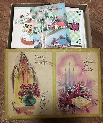Vintage Lot 1950's Boxed Greeting Cards Get Well Baby Wedding Birthday Thank You