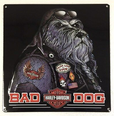 Ande Rooney HARLEY DAVIDSON BAD DOG Tin H-D Garage Man Cave Motorcycle Sign
