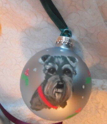 Miniature Schnauzer  hand painted  Christmas Ornament