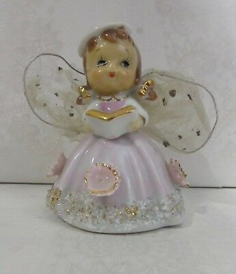 Vintage Caroler Pink Angel Bell with Mesh Wings Spaghetti Trim WALES of Japan