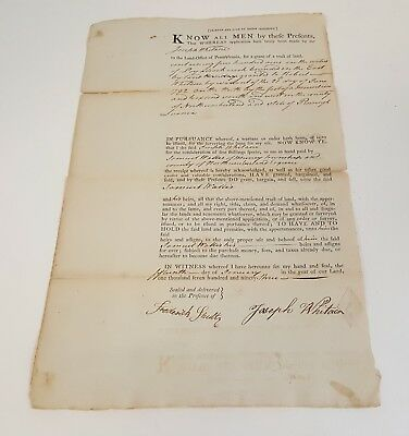 Deed/ Land Grant document Pennsylvania 1793