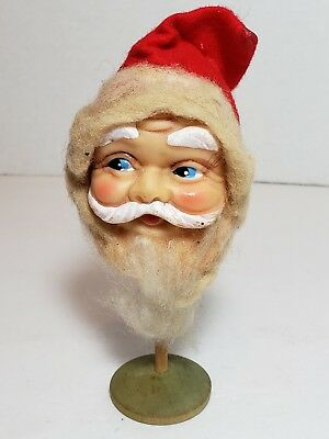 Vintage Marked JAPAN composite SANTA HEAD on wooden base wool /cotton beard felt