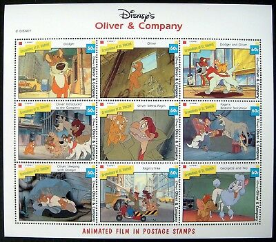 1992 Mnh St Vincent Disney Oliver & Company Stamps Sheet Animated Film Dodger