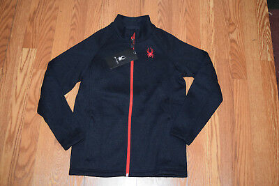 NWT Boys SPYDER Black Red Knit Full Zip Jacket Size S Small 7 8