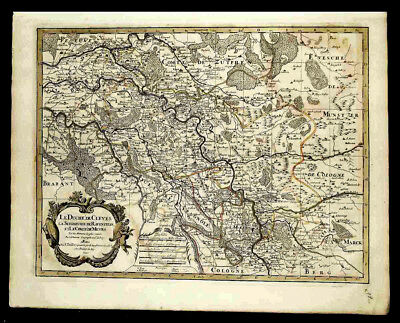 GERMANY * 325-YEAR-OLD MAP (original) THE DUCHY OF CLEVES - 1692 SANSON-JAILLOT