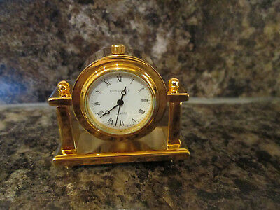 Gold Plated Miniature Clock - New In Box