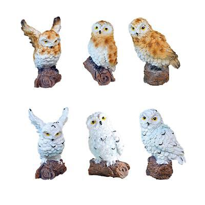 Mini Owl Resin Statue Ornament Figurine Bird Garden Plant Pots Decor DIY Craft