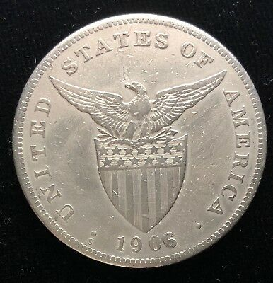 1906s Peso US-Philippines  Silver Coin Altered Date - 1