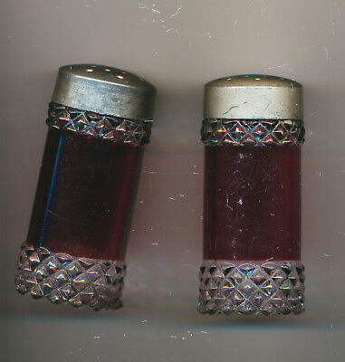 Vintage Cranberry Glass Salt and Pepper Shakers