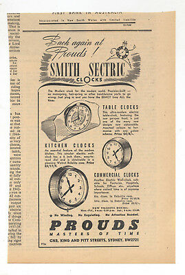 Smith Sectric Clocks Advertisement removed from 1946 Australian Newspaper Clock