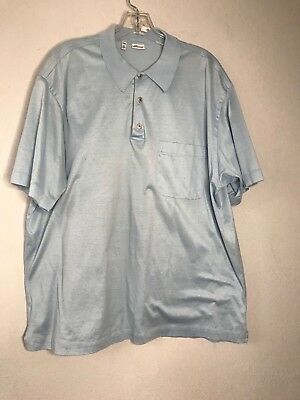 f62ffb8ab4e BRIONI Polo Shirt, BRIONI Men Blue Cotton Jersey Knit Polo Shirt XXXX Used  Large