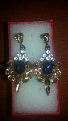 "Fancy Faceted Crytsal Earrings Blue, Golden, White Colors 2"" Brand New"