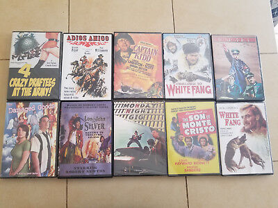 10 Family/Comedy DVDs-crazy-white fang-monte cristo-pirate-captain-draftees-zany