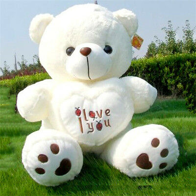 Big White Teddy Bear Soft Plush Toy50cm Giant  I Love You Cushion Valentine Gift