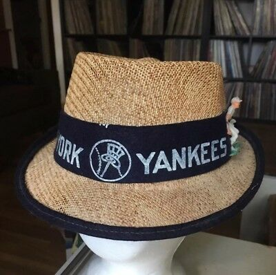Vintage RARE 50s 60s New York Yankees Hat Cap Fedora Straw MLB Small d31e8e08533