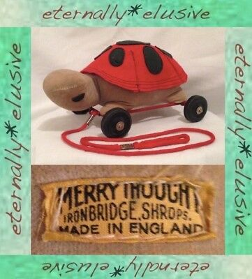 Original Vintage MERRYTHOUGHT Rare Tortoise Turtle NOT BEAR Pull Along Wheel Toy