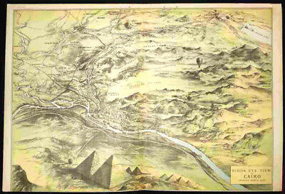 Cairo, Egypt - Panoramic Birds-Eye View - Antique Illustrated Map - Made In 1882