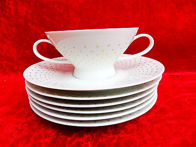 7 Beautiful Service Parts __Rosenthal__ White with Gold __ 1 Soup Bowl Und 6