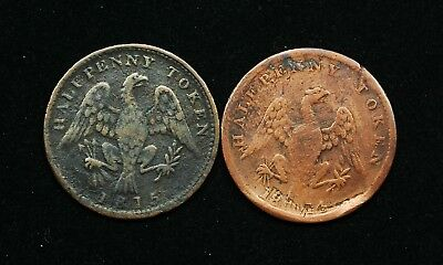 1814 and 1815 Lower Bank of Canada Half Penny Tokens 28mm, Considered Scarce