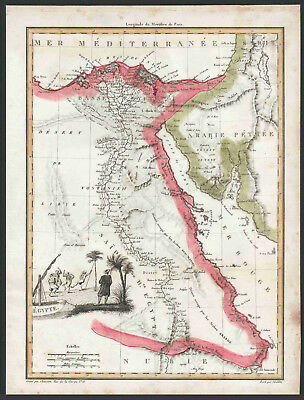 EGYPT – 200 Year Old Antique Map (genuine), With Engraved Scene & Hand-Coloring