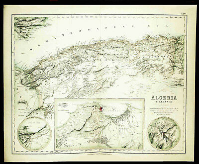 ALGERIA - French Colony in North Africa - Very Detailed Antique Map Made in 1872