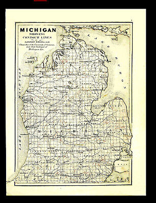 MICHIGAN – ANTIQUE GEOLOGICAL MAP (original) – made in 1873 - Winchell & Walling