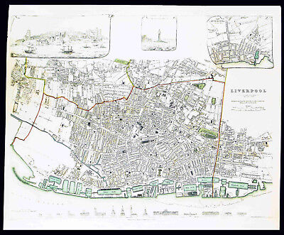 LIVERPOOL England - Historic & Beautiful Antique Map 180 Years Old GREAT DISPLAY