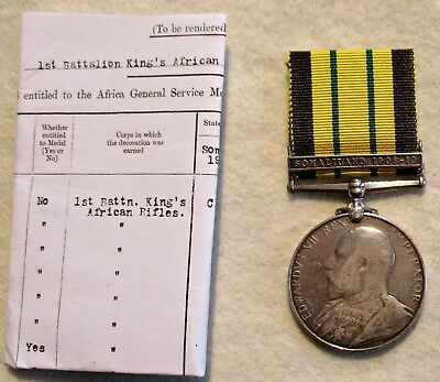 Africa General Service Medal Somaliland 1908-1910 Clasp King's African Rifles