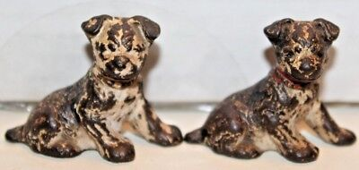 Antique Lot of 2 Sitting Hubley Cast Iron Black & White Dogs