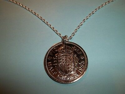HALF CROWN COIN PENDANT NECKLACE - 1962 - 56th BIRTHDAY
