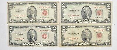 Lot (4) Red Seal $2.00 US 1953 or 1963 Notes - Currency Collection *480