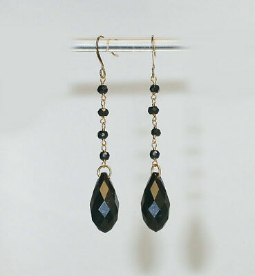~CLASSIC VINTAGE ART DECO BLACK Hand-FACETED CRYSTAL  EARRINGS!~~