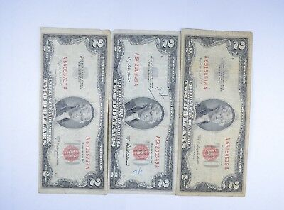 Lot (3) Red Seal $2.00 US 1953 or 1963 Notes - Currency Collection *097