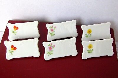 Vintage Porcelain Name Plates Six Hand Painted Dining Table Flower Place Cards