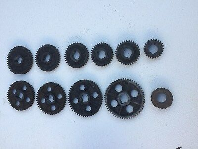 "COMPLETE SET Of 10 ATLAS CRAFTSMAN 10,12 LATHE THREADING CHANGE GEARS 10"" ,12"""